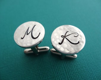 Initial Cuff Links - Personalized Cufflinks - Hammered Weathered Texture