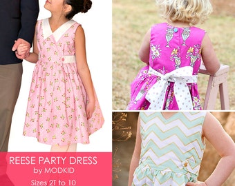 Reese Party Dress PDF Downloadable Pattern by MODKID... sizes 2T to 10 Girls included - Instant Download