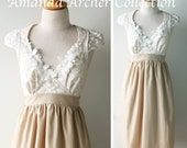 Beige and Ivory Lace Dress with pockets, cotton with pockets