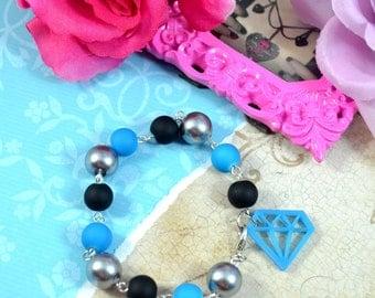 BLING BRACELET - SALE - Diamond Charm Bracelet in Blue, Black, and Silver
