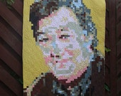 "Stephen Fry Art Quilt ""Fryed Pixels"" Wall hanging"