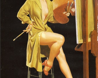 Artist Pin Up Girl - Glamour Girl to Frame or for Paper Arts, Mixed Media and MORE