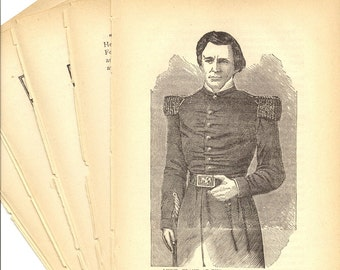General U.S. Grant Collage Paper Pack- 5 Pages from 1885 Life and Deeds Book to Use in Paper Arts PSS 1936