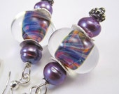 Purple Swirl Lampwork and Pearl Bead Earrings, Free Shipping, Laura Mae Jewelry