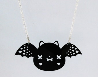 Bat Necklace - Cute Kawaii Bat Acrylic Charm with Chain
