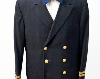 Men's Military Blazer / Naval Jacket / Officer's Dress Blues / Size 42 Vintage