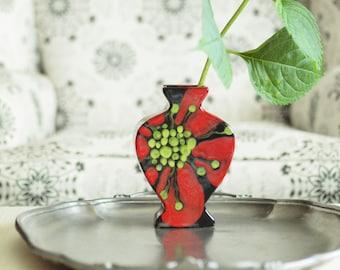 Vase Floral Vase Ceramic Vase Red Poppy Flat Urn Vase Pottery Vase August Rememberance Gift Gift for Bride Hostess Gift Valentine Gift RP