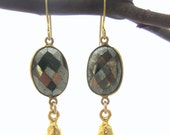 Gold Black Pyrite Bezel Earrings with Gold Nugget Vermeil Drop - Gold Filled, French Hook Earrings