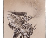 Bee Rider, Greeting Card by Renae Taylor