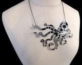 "An Octopus Love Affair Necklace - Large 6"" Ink Splatter - Laser Cut Acrylic (C.A.B. Fayre Original Design)"