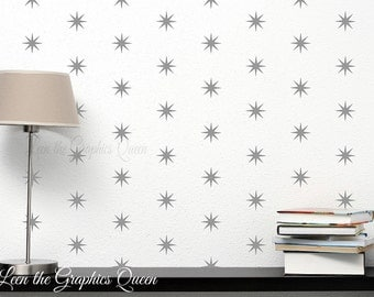 Star Shaped Wall Decals - 200 Patterned Self Adhesive Vinyl Decals with 45 Color Options -Twinkle Twinkle Little Star Nursery Kid Room Decor