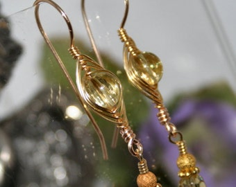 Gold Topaz Crystal Herringbone Earrings