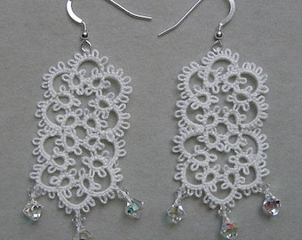 large bridal white tatted earrings with Swarovski Crystal, lightweight, tatting lace jewelry, wedding accessory, handmade lace