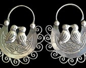 Frida style Love Birds Filigree hoops with leaves and filigree