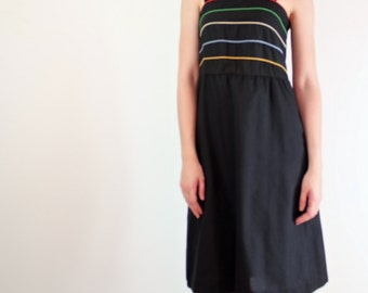 Spaghetti Strap Dress • Striped Sundress • 70s Sundress • Casual Dress • Large Sundress • 1970s Sundress • Black Sundress • Sundress