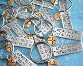 """GPS Double Keychain. Large Rectangle+Mini Disc. Lat/Long 1.5"""" metal Pendant. Custom Hand Stamped antiqued charm. Tipsy Whimsey souvenir gift"""
