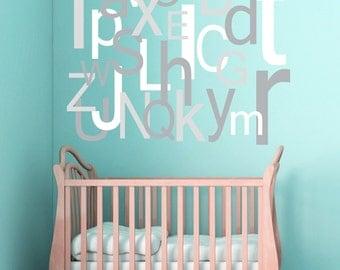 Alphabet Wall Decal Large Oversized Letters - Children's Bedroom Nursery - Vinyl Wall Art Room Decor Sticker - CL105A