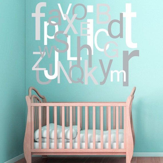 Alphabet wall decal large oversized letters children 39 s for Decorative letters for kids room