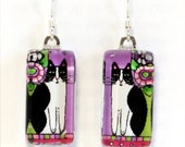 Cat Art Earrings/  Black and White Cat on Lavender Glass Jewelry by Susan Faye
