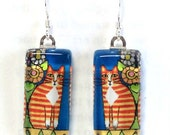 Orange Tabby Cat Earrings /Ginger Tuxedo Cat Jewelry/ Art by Susan Faye