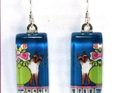 Siamese Cat Art Earrings/ Chocolate Point/ Glass Jewelry by Susan Faye
