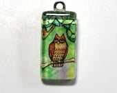 Woodland Owl Glass Charm Bead for DIY Jewelry, Crafts