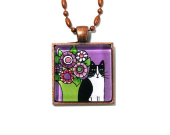 Tuxedo Cat Jewelry/ Pet Art Pendant in Lavender Violet by Susan Faye
