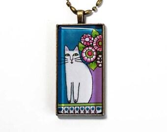 White Cat Jewelry / Pet Art Glass Pendant by Susan Faye