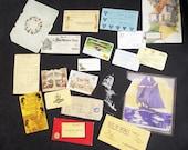Antique Paper Ephemera DeStash Lot - Letter - Stamps - Report Cards, YMCA cards, Bank Note, Calling Card, 1881 Calendar, Oddities
