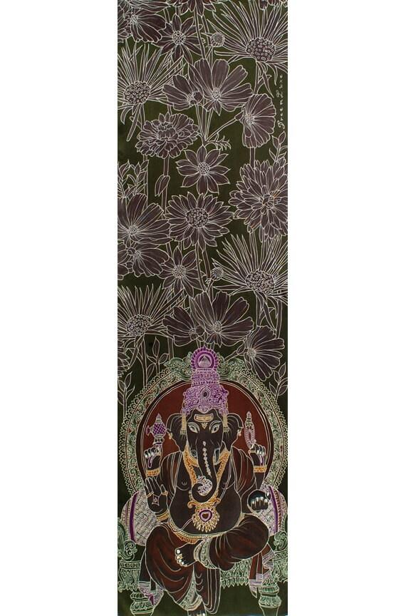Mens Silk Scarf, Ganesha scarf, Hand Painted scarf, Ganesha painting, Burgundy scarf, Flower scarf, Neck scarf men, Mens dress scarf, Luxury
