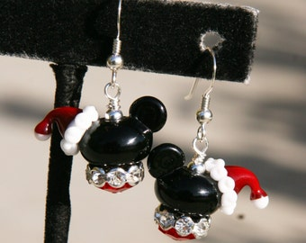 Christmas XMAS December Lampwork Disney Inspired Mickey Mouse Style DeSIGNeR EaRRiNgs Holly Berries Bling