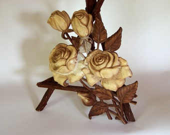 "Syroco Rose Wall Plaque - 18"" High - Wall Hanging in Browns - 1960's - Wood Carved Look"