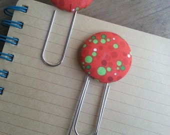 Festive Red, Green and Red Dotted Fabric Covered Button Bookmarks with Large Paper Clip