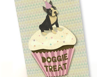 Printable PDF Boston Terrier & Cup Cake Birthday Card Instant Download Cute, For  Dog Lover, Pink,  White, Gray
