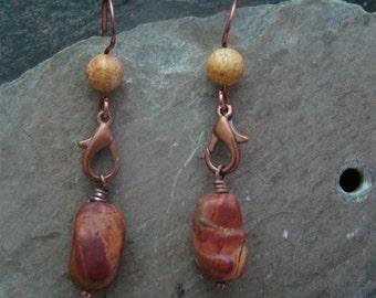 SALE   Desert Jasper Stone Earrings Handmade Wires           1.99 SHIPPING USA