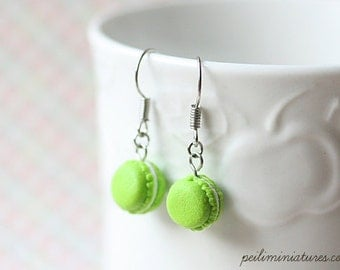 Dangle Macaron Earring in Lime Green - Gift For Her