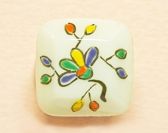 Antique Square Edwardian Milk Glass Button,Hand Painted, Bright Naive Summer Floral  Glass Button-Medium Size (lot5)