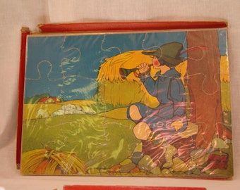 3 Antique vintage Little Boy Blue Mother Goose Red Riding Hood Puzzle Game Toys Victorian