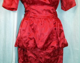 1980s satin-look wiggle party dress red on red