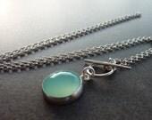 Aqua Necklace, Aqua Chalcedony Necklace, Aqua round stone silvcer Chain, Bridesmaids Jewlery