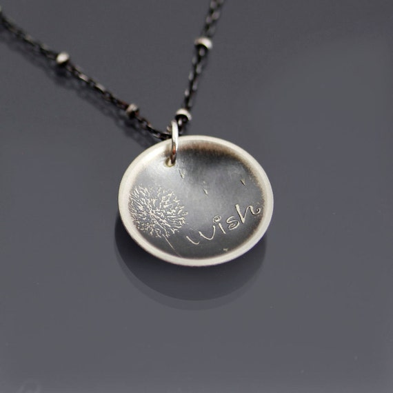 Etched Silver Dandelion Wish Necklace - MADE TO ORDER