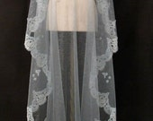 Aqua Blue and Silver Mantilla Veil With Alencon Lace And Crystals - One Of A Kind