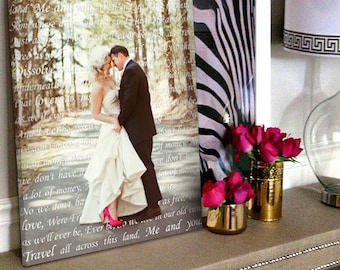 Anniversary Gift Personalized Gift for Couple Your LOVE story PHOTO printed Canvas Wedding, Cotton Anniversary  Reception Decor