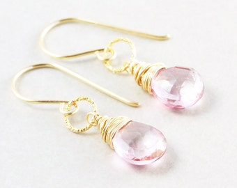 Pink Dangle Earrings, Pink Drop Earrings, Bridesmaid Gift, Handmade
