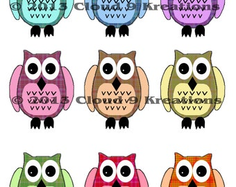 9 Colorful Owls Digital Collage Sheet