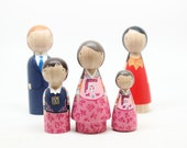 Custom Family of 5 // Traditional Korean Dress // Wood Gift Unique Family Portrait Painted Peg Dolls // Wooden Toys