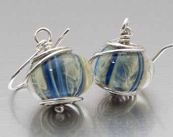 Earrings - Storm in a Cage - lampwork glass and sterling silver by Jennie  Yip