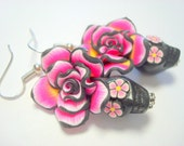 Black, Pink, and Yellow Day of the Dead Roses and Sugar Skull Earrings
