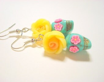 Sugar Skull Earrings Turquoise Yellow Pink Day of the Dead Skull Earrings