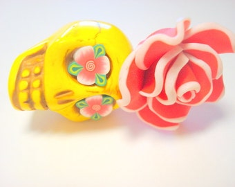 Gigantic Yellow Sugar Skull and Red White Rose Day of the Dead Pendant or Ornament
